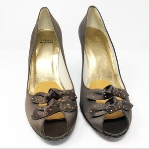 Stuart Weitzman Peep Toe Satin Brown Bow Heel